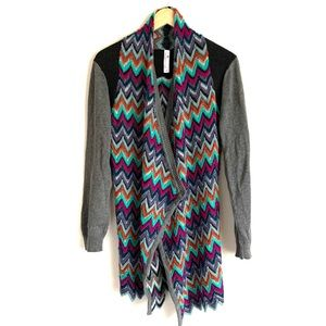 Indigenous open front multi color knit sweater